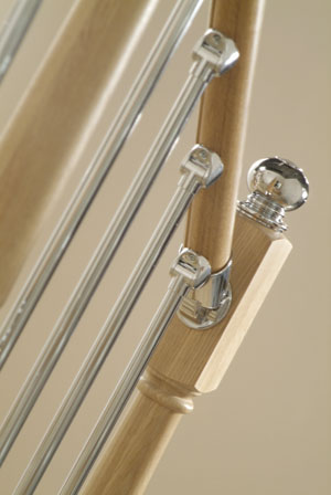 Axxys oak and chrome handrails