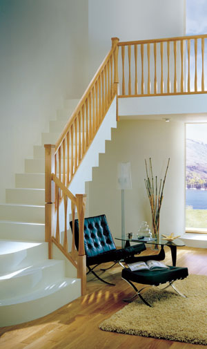 Slender stair parts in Oak